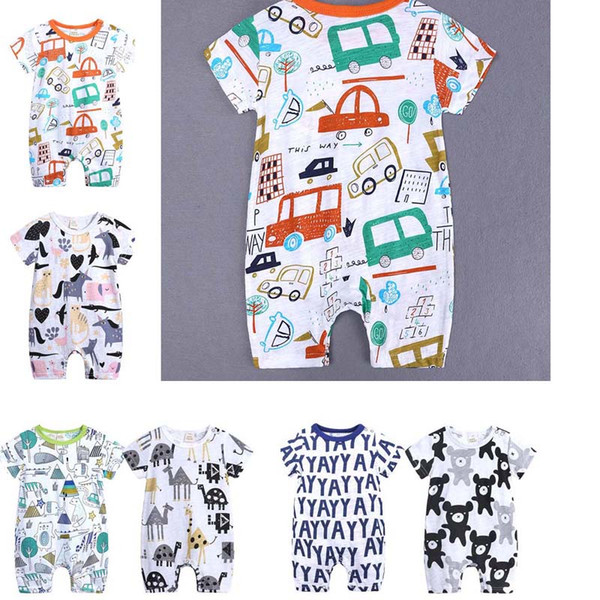 best selling Baby Onesies 2019 Summer Cotton Rompers Boys Girls 0-24 Months Kids Clothes Knitted Cartoon Short-sleeved Jumpsuit Outfit C52