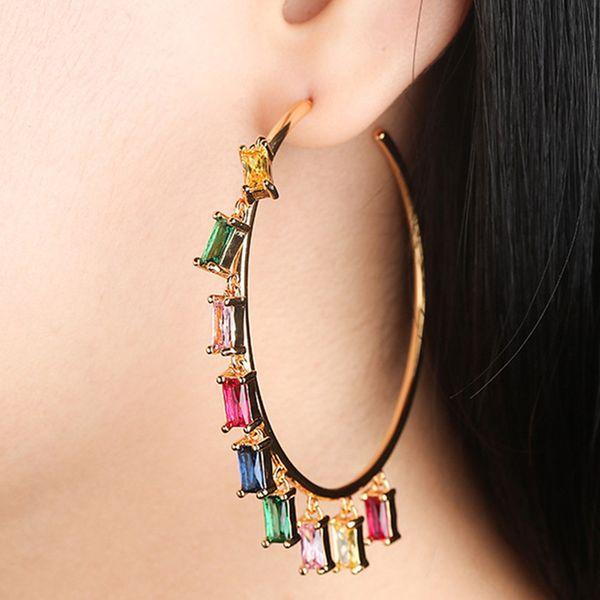 luxury colorful zircon diamond tassel big hoop earrings women gold circle ruby red gemstone monaco fashion wedding party jewelry
