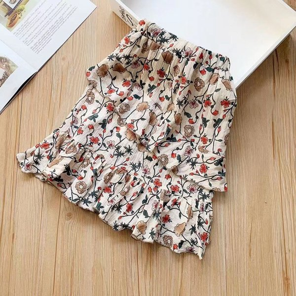 2019 Kids girls print floral dress baby girl chiffion ruffle maxi skirts childrens summer dresses fashion clothing