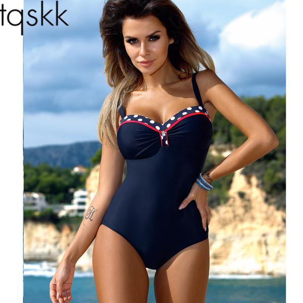 Tqskk One Piece Swimsuit 2019 New Swimwear Women Retro Striped Female Swimsuit Sexy Summer Dot Beach Wear Bathing Suit Monokini Y19072301