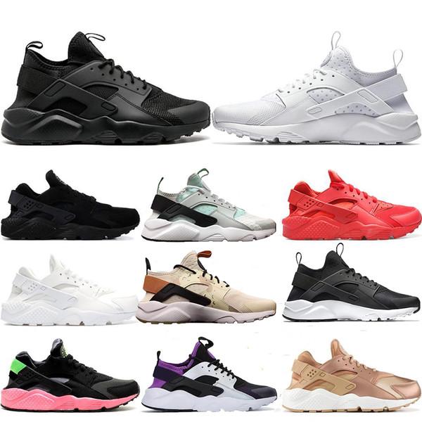 Üçlü Beyaz Siyah Huarache 4.0 1.0 Mens Womens Özel Koşu Ayakkabıları Klasik lacivert tan Erkekler Kadınlar Ayakkabı Eğitmen Spor Sneakers