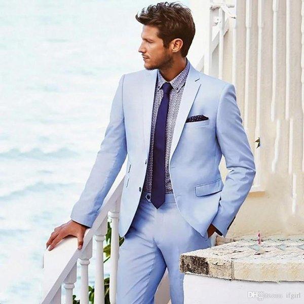 Yepyeni Açık Mavi Erkek Düğün Smokin Notch Yaka Groomsmen Smokin Popüler Man Blazers Ceket Mükemmel Suit (Ceket + Pantolon + Kravat) 62
