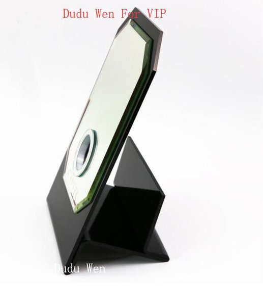 Famoso espejo de pantalla de vidrio estilo C + soporte de tejido acrílico Regalo VIP Caja de regalo de lujo blanca herramienta de maquillaje para caja de almacenamiento en el hogar