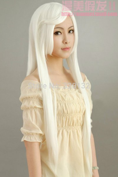 COS wig New sexy vogue girls long White Cosplay Party Anime Straight wigs Hair wigs Free Shipping