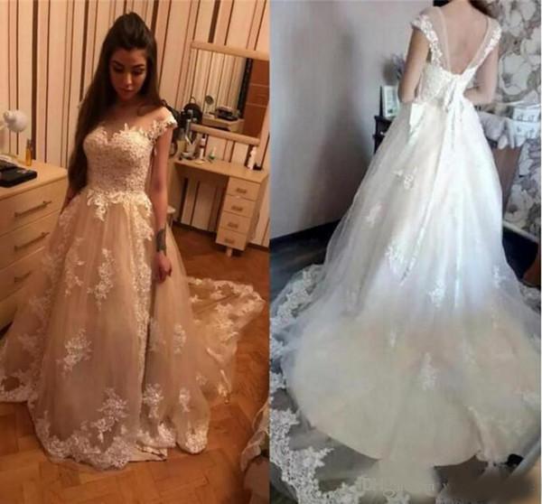 Luxurious Lace A-line Wedding Dresses Jewel Neck Princess Arabic Muslim Arab Bride Bridal Dress Gown Wedding Gowns