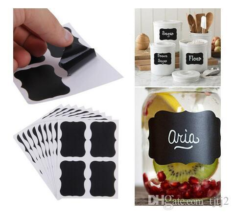 best selling 36x Chalkboard Blackboard Chalk Board Stickers Craft Kitchen Jar Labels Tags 80*50mm DHL Free shipping