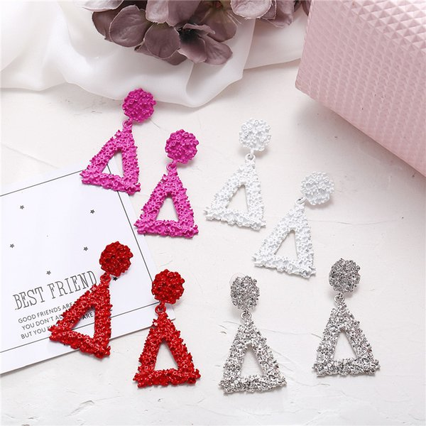 New Arrival Designer Earings 4 Colors Big Alloy Metal Triangle Dangle earrings For Women European Brand Designer Earrings Fashion Jewelry