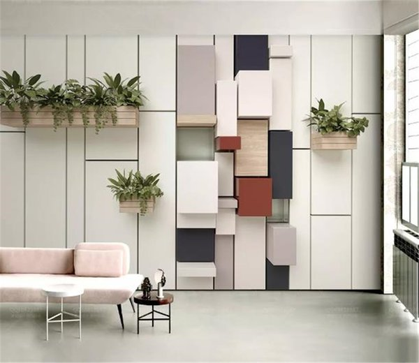 SCustom Any Size 3D Mural Wallpaper Fashion Geometric Cube Mosaic Fresh Green Plant Pot Home Decor Living Room Wall Covering