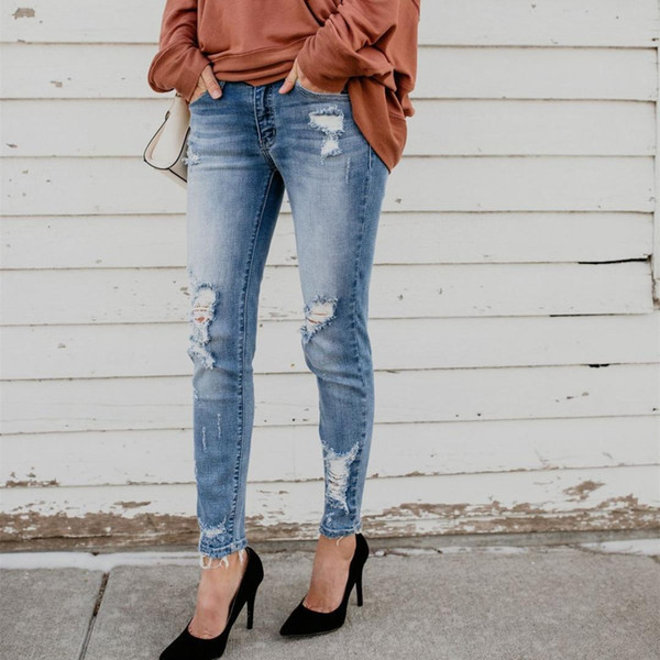 Mode 2019 Nouveau Sexy Taille Haute Femmes Trou Crayon Jeans Élégant Gland Élastique Poches Casual Pantalon Casual Femme Pantalon En Denim