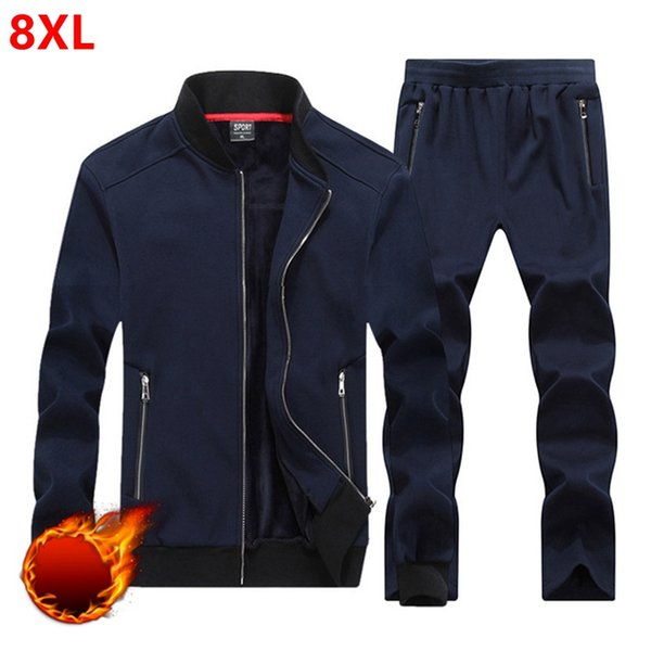 Autumn and winter men's thickening men plus size 8XL loose and fat increase code movement set of young thickening big size Suit