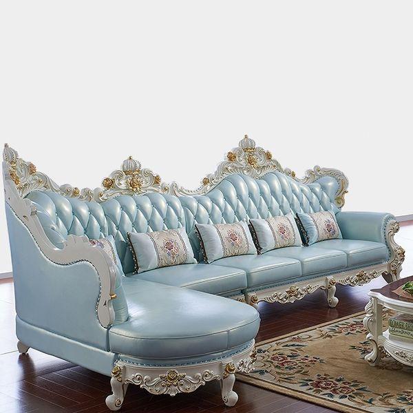 2019 Solid Wood L Shape Full Leather Sofa Set Living Room Furniture Muebles De Sala Divano Letto Puff Sillon Koltuk Takimi Sillones From
