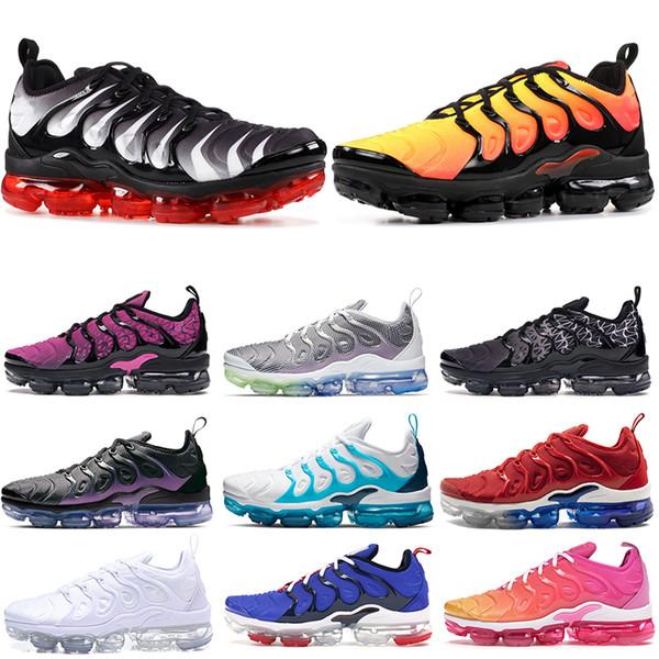 nike air vapormax plus EN Kaliteli Erkek Koşu Ayakkabıları TN Artı Kırmızı Shark Diş Günbatımı Geometrik Aktif Fuşya Siyah Olimpiyat BETRUE Kadın Eğitmenler tn Sneakers