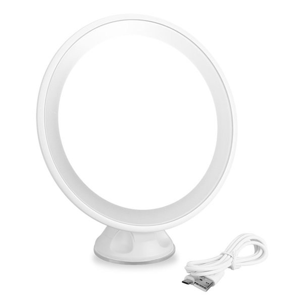 7x Magnification Led Rechargeable Bathroom Vanity Mirror 360 Degree Lighted Adjustable Table Makeup Round Decorative Mirror Large Circle Mirror Large
