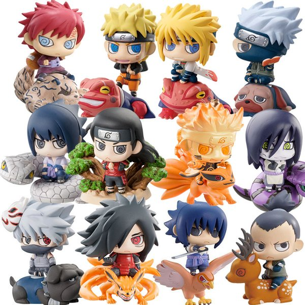 6pcs/set Naruto Sasuke Uzumaki Kakashi Gaara Action With Mounts Figures Japan Anime Collections Gifts Toys #e Y19051804