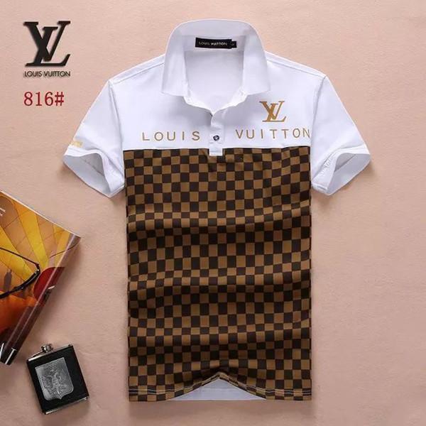 Verano de los hombres de manga corta polos camisas # 2107 Tops de los hombres de moda de algodón jersey de manga corta de negocios camisa de polo casual jogging camisetas