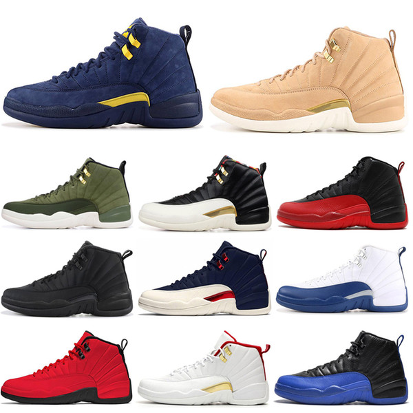Men Basketball Shoes 12 12s FIBA Game Royal International Flight UNC Gym Red playoffs College Navy mens trainers Sports Sneakers 7-13