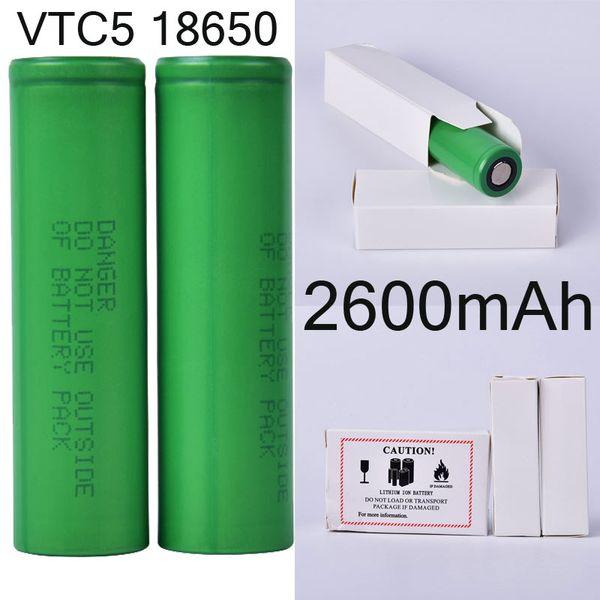 VTC5 2600mAh 18650 batería recargable de litio, usando para la linterna de la antorcha de DHL FJ752