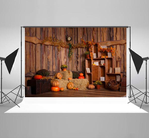 Kate Microfiber Thanksgiving Decoration Photography Backdrops Autumn Wooden Interior Background Halloween Pumpkins Backdrop for Photographer