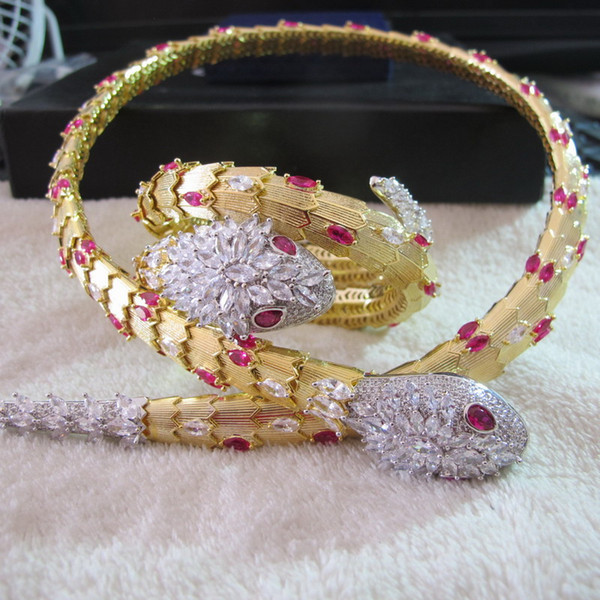 wholesale new designer flower snake cuff bangle 18K yellow gold plated bracelets choker necklaces designer party jewelry sets for women