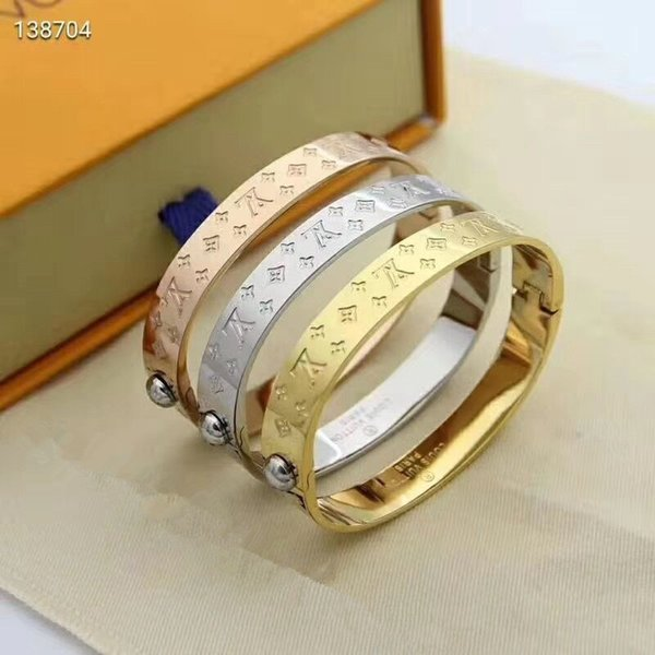 top popular Hot sale 316L Titanium steel band 3 color Cuff for Women fine jewelry bracelet wedding gift 2021
