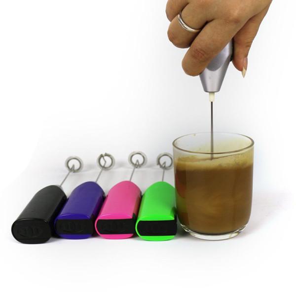 Elektro-Ei-Klopfer 6 Farben Vollautomatische Kaffee Stirrer Edelstahl Sahne- und Schaum Milchschäumer 60 Stück DHL