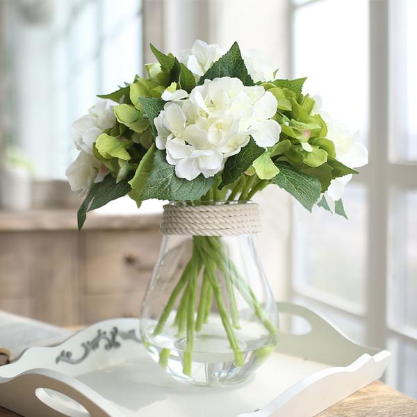 Sala de estar flores de hortensia floret de vidrio botella artículos de decoración mesa simulación floral decoración de flores traje dormitorio oficina