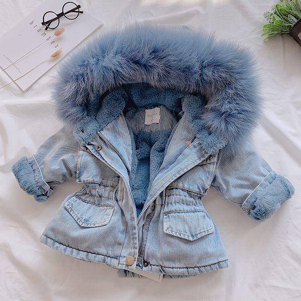 2019 Winter-Baby-Jeansjacke plus Samt realen Pelz-Warm-Kleinkind-Mädchen-Oberbekleidung-Mantel 1-6 Jahre Kind-Kind-Parka LM030
