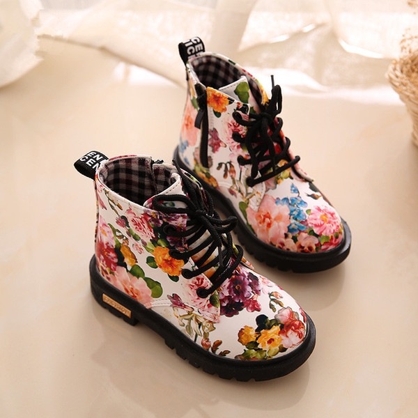 2018 1 To 5 Years Old Martin Boots Baby Girls Princess Fashion Shoes Flowers In Soft Sports Shoes Top Quality Non-Slip Children
