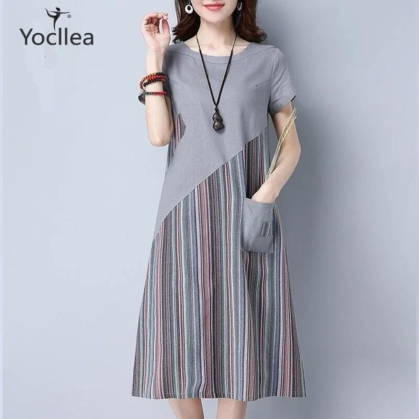New Summer Loose Plus Size Dress Office Lady Casual Striped Patchwork Mid Long Dresses Short Sleeve A-line Dress Hy368 J190622