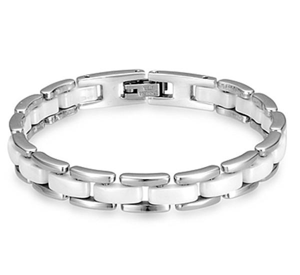 Top design titanium steel bracelets Men and women silver black and white ceramic couple bracelet long-lasting color allergy