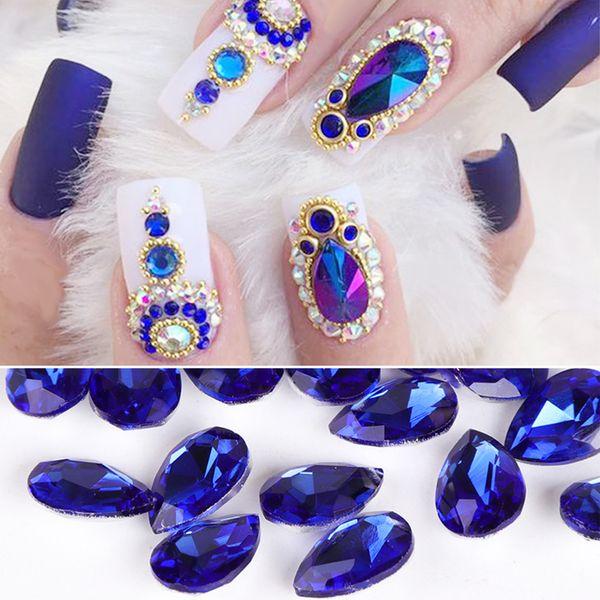 10pcs Drop Water Nail Art Rhinestones Crystal Stones 10 Color 7x10mm/6x8mm Shiny DIY Charms Jewelry Nail Art Decoration TR030 D19010803