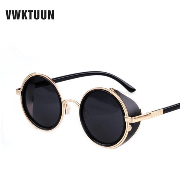 top popular Steampunk Round Sunglasses Men Women Vintage Retro Style Mirror Steam Punk Goggle Man Woman's Outdoor Sun Glasses Oculos 2021