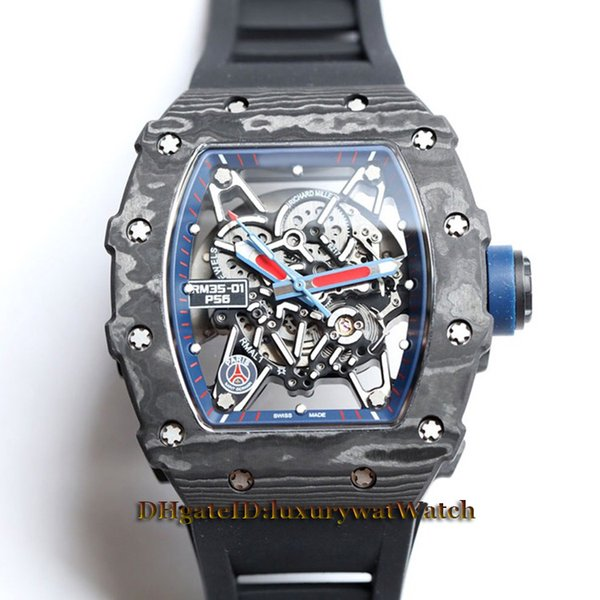 Best Version RM35-02 Skeleton Dial NTPT All Carbon Fiber Pattern Case Japan NH Automatic 35-02 Mens Watch Black Rubber Strap Sport Watches