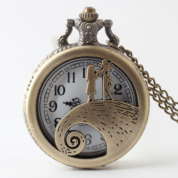 The Nightmare Before Christmas Sally Jack Skellington Quartz Pocket Watch Cute Necklace Chain Kids Children Birthday Xmas Gifts