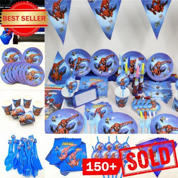 82pc / set Spiderman compleanno feste Piastre bambini monouso Tovaglia Coppa tovagliolo Baby Shower Superhero Decorazione per feste SH190923
