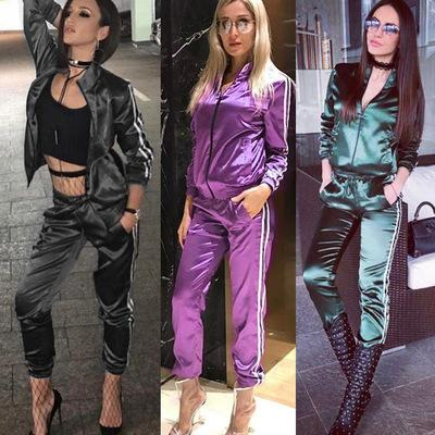 Womens Two Pieces Suits 2019 Summer New Fashion Ladies Sports Suit Street Style Striped Sweatpants Casual Jacket Trousers