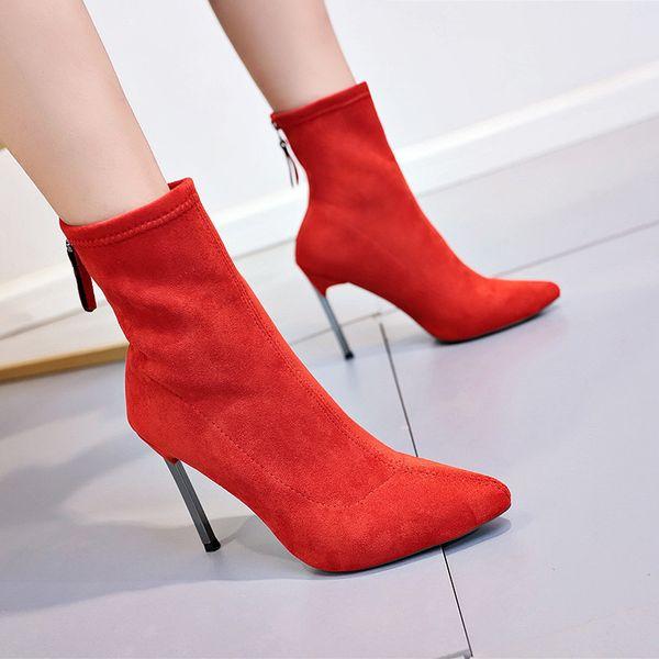 2019 Stivali da donna da donna Stivali da donna di grandi dimensioni 2018 Tacchi alti elastici a punta autunnale