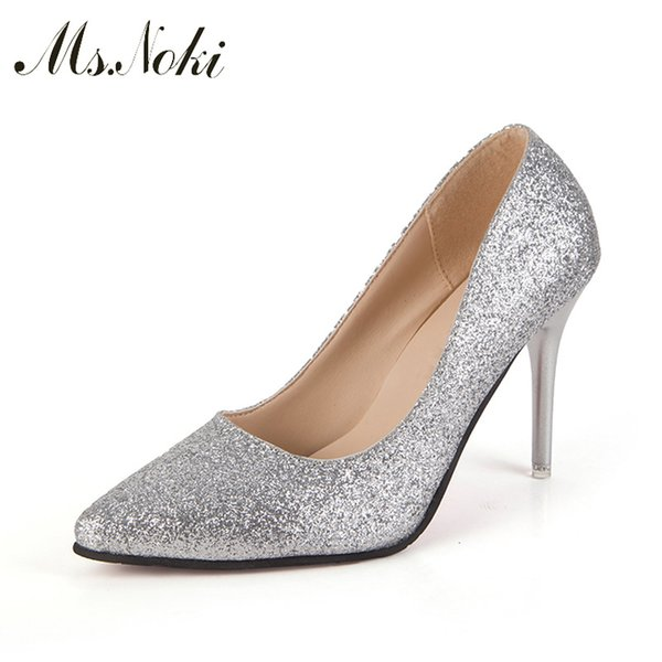 Ms.Noki Golden/silver Pointed Toe Slip-ons Women Pumps 8cm thin Heels Women Fashion bling dress wedding With Heels