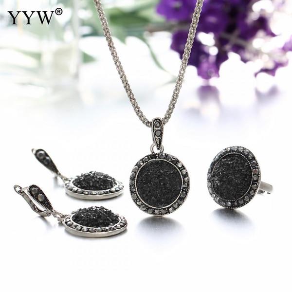 Wholesale Vintage Black Gem Jewelry Set Fashion Women Jewelry Set Antique Silver Crystal Round Stone Pendant Necklace Sets