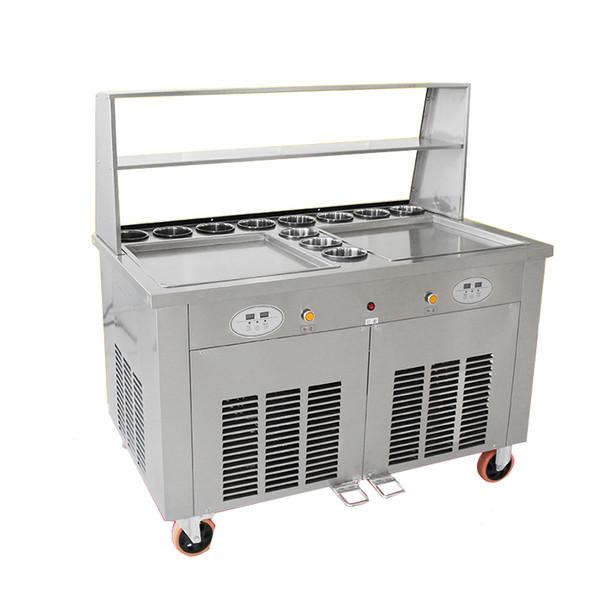 1PC cauldron fried yogurt machine fried ice cream machine 220V matcha fried ice cream machine stainless steel