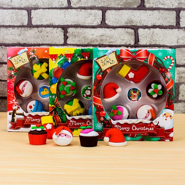 Borrador de Navidad Mini Navidad Muñeco de nieve con gorro Borrador Borradores Año Nuevo Regalos de Navidad para niños Niños Estudiantes Premio Y0069