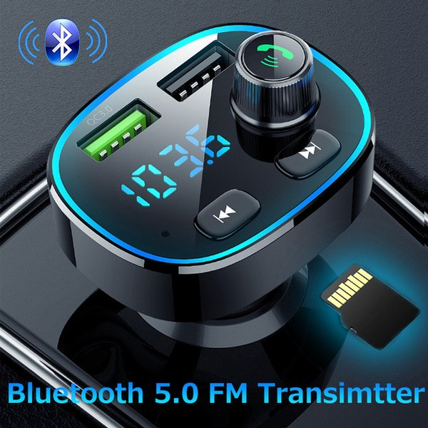 JINSERTA Bluetooth 5.0 Transmissor FM Stereo Car MP3 Player Audio Adapter Quick Charge 3.0 Dual USB Car Charger Tensão Digital