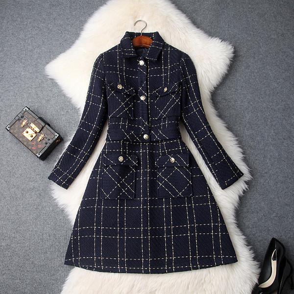 Tweed Großhandel KurzmantelV Ärmelloses Bmw280 Ausschnitt Anzüge Herbst Kleid Plaid 41 Umlegekragen Dame Von Set Frauen Büro Tank Winter X80kwnOPN