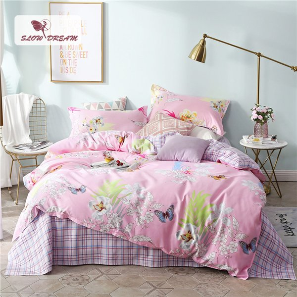 SlowDream Pink Bedding Set Butterfly Bedspread For Adult Double Queen King Size Flat Sheet Pillowcase Duvet Bed Quilt Cover Set