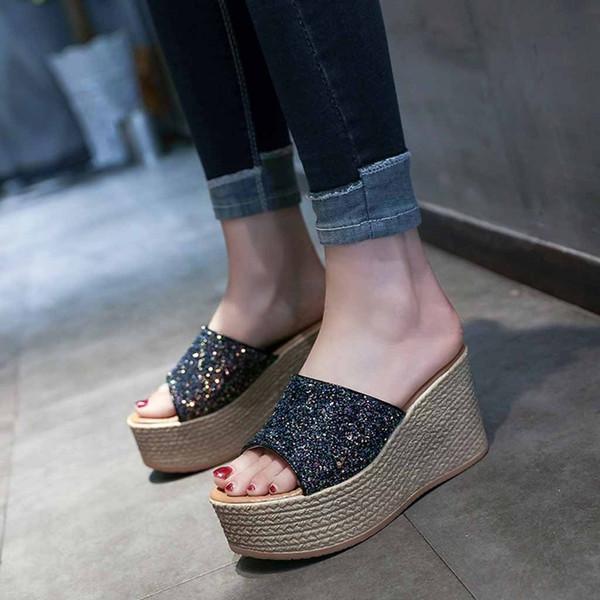 Vogue Pantoufles Femmes Belle Mode Bling Coins Casual Chaussures D'été Femelle Pantoufles Haut Talon Peep Toe Zapatos Mujer