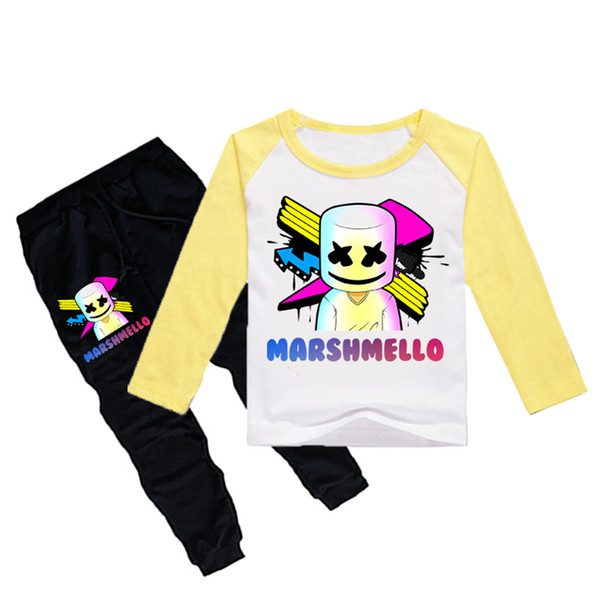 1-12Y Boys Girls long sleeves T-shirt + Trousers 2 Piece Sets DJ Marshmello Printed kids clothing sets kids designer clothes DHL JY111