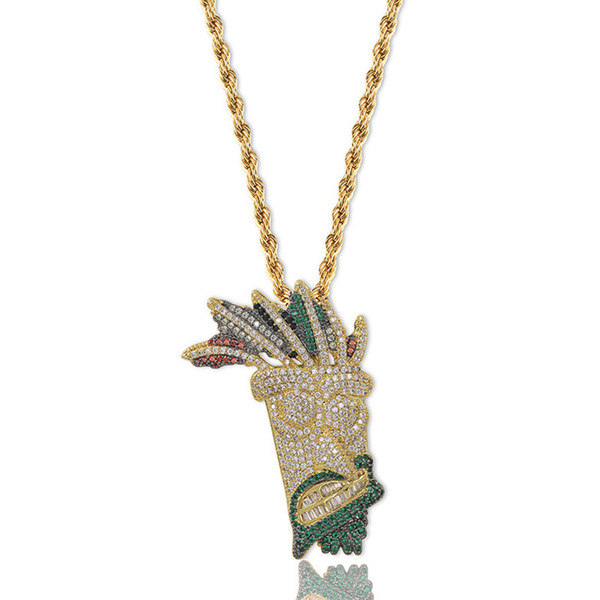 Hip Hop Necklaces Fashion Men Women Multicolor Grade Quality Zircon Micro Pave Pendant 18K Gold Plated Indian Style Mask Necklaces LN057