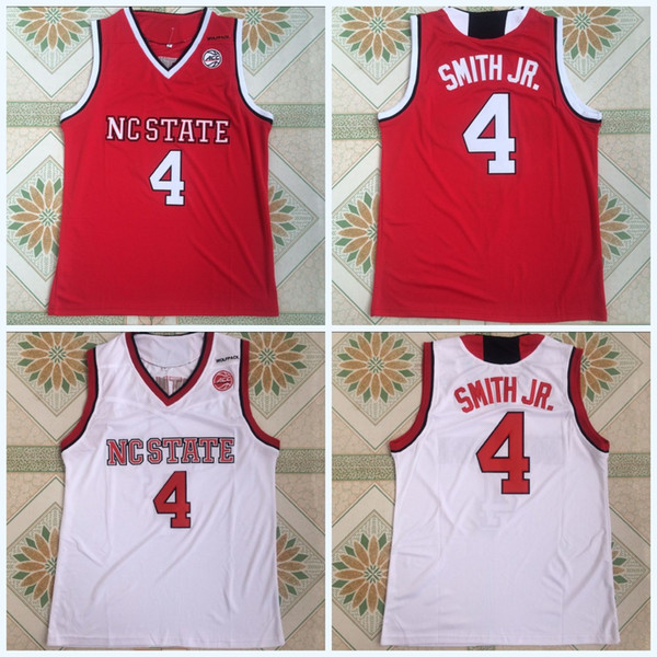 Collège NCAA Wolfpack 4 # DENNIS SMITH JR. College Basketball Jersey Rouge Blanc 100% cousu Maillots de basketball universitaire S-3XL