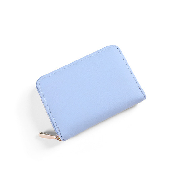 Women Short Pu Wallet Small Size Simple Pure Color Coin Purse Multi-Card Holder Money Zipper Pocket Cartera Mujer