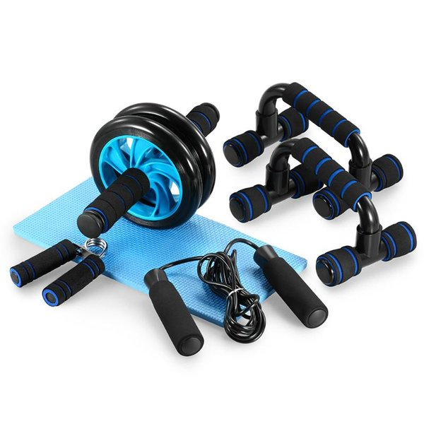 best selling TOMSHOO 5-In-1 Abdominal Roller Fitness Wheel Kit with Push Up Bar Jump Rope Hand Gripper Knee Pad Abdominal Core Carver Workout